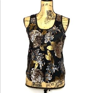 MM Couture Floral Metallic Sequin Tank Top XS